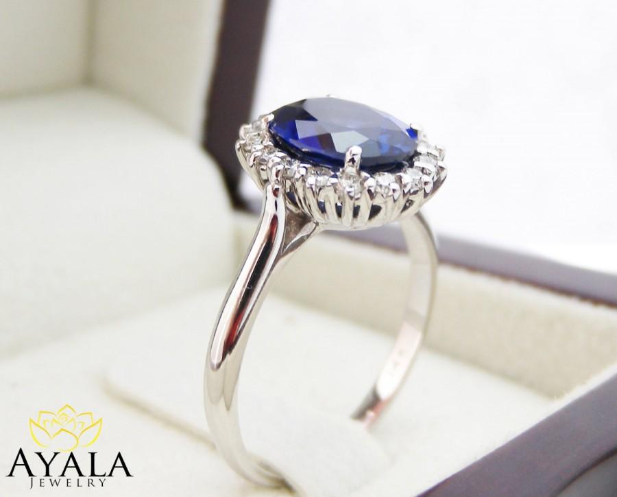 Diana Ring 14k White Gold Blue Sapphire Engagement Ring Blue