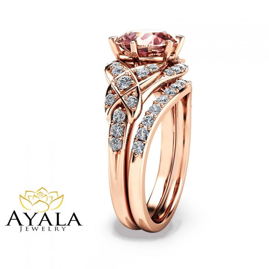 14K Rose Gold Vintage Engagement Ring Rose Gold Morganite ...