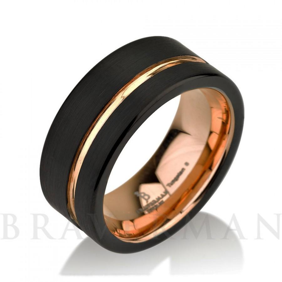 black tungsten ring rose gold wedding band ring tungsten 9mm 18k tungsten ring man band male women rose gold ring - Man Wedding Ring