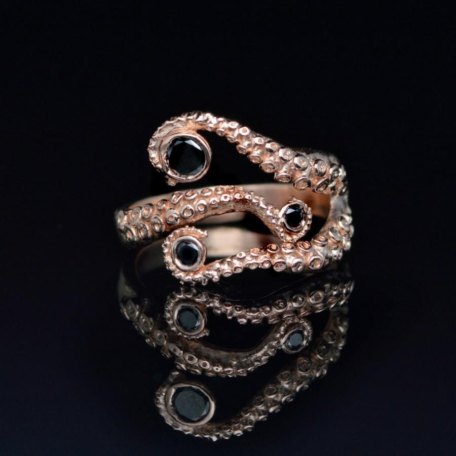 Mariage - Tentacle Ring, Wedding Band, Octopus Ring - Seductive 14K Tentacle Ring in Rose Gold and Black Diamonds by OctopusME