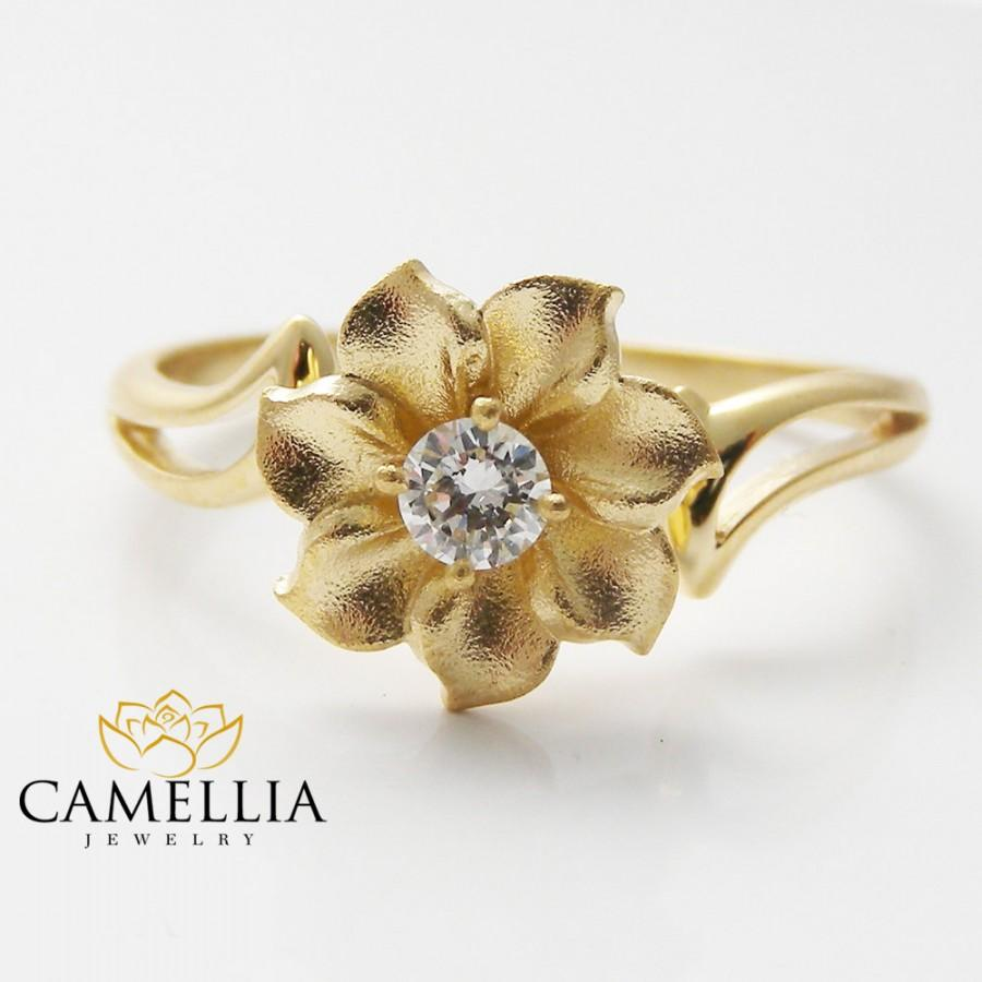 18k yellow gold flower engagement ring diamond engagement ring 18k yellow gold flower engagement ring diamond engagement ring flower engagement ring 18k gold ring mightylinksfo