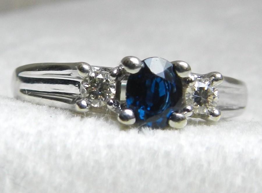 Mariage - Sapphire Engagement Ring Genuine Blue Sapphire Diamond Ring White Gold 10K September Birthday
