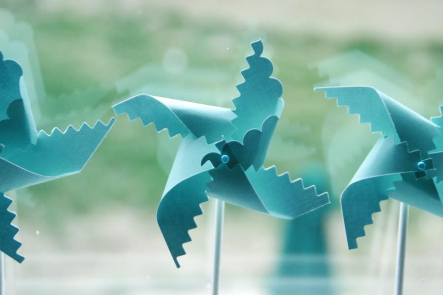 Mariage - Robins Egg Blue Wedding Pinwheel Favors 12 - mini pinwheels (Custom orders welcomed)