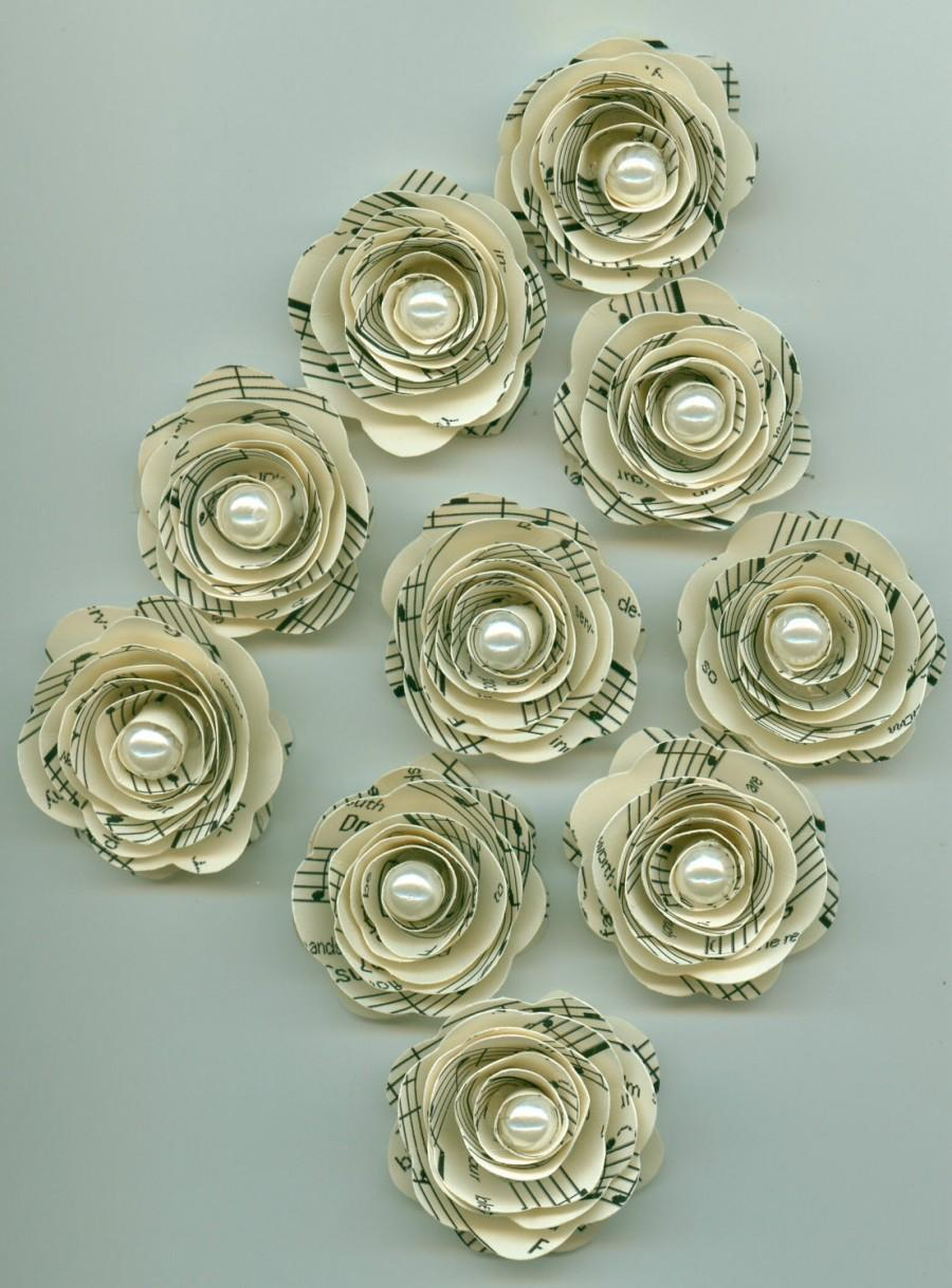 Pearl Music Sheet Handmade Mini Roses Spiral Paper Flowers 2412568