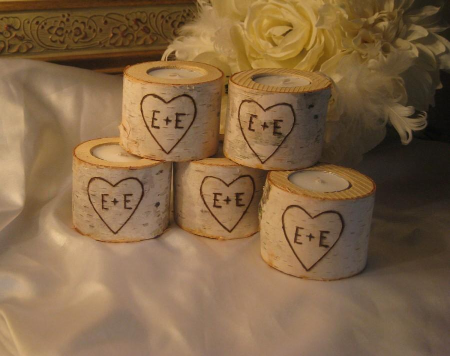 "Wedding - 20  - 2"" Personalized Birch Candle Holders for Weddings Bridal Showers Garden Party  Centerpiece Candles"