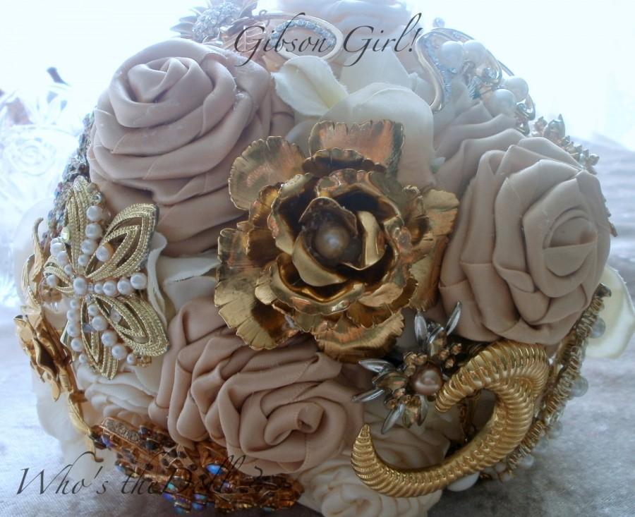 Свадьба - Wedding Bouquet/ brooch bouquet/bridal bouquet/flower bouquet/Gibson girl/bridal bouquet/1920's/deposit