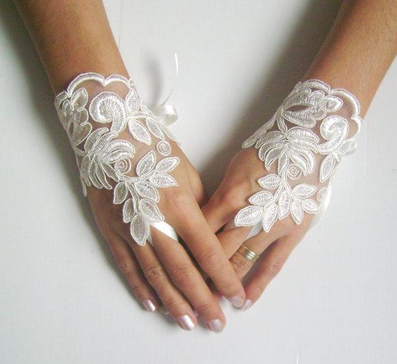 Wedding - Ivory Wedding gloves french lace gloves bridal gloves lace gloves fingerless gloves ivory gloves free ship