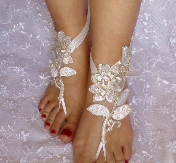 Bridal Shoes Boho: Free Shipping Ivory Gold Bridal Accessories, Dance Shoes