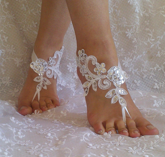 Wedding - Free Ship lace sandals white or ivory lace anklet Beach wedding silver sequins bohemian wedding