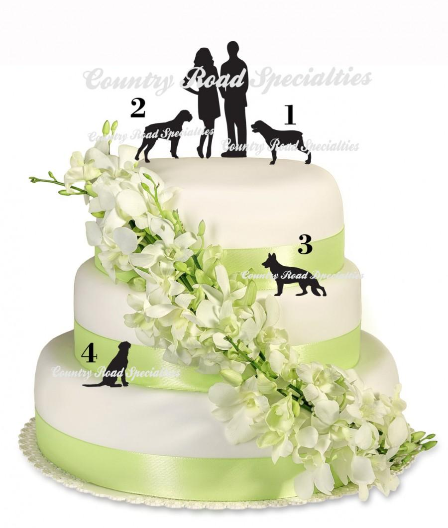 Mariage - Pets With Silhouete Bride and Groom  Cake Topper