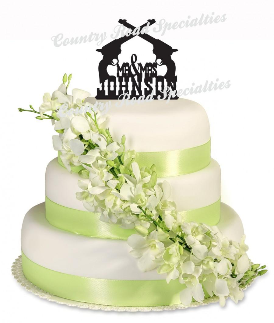Western Wedding Cake Topper, Mr And Mrs Surname Western Pistol ...