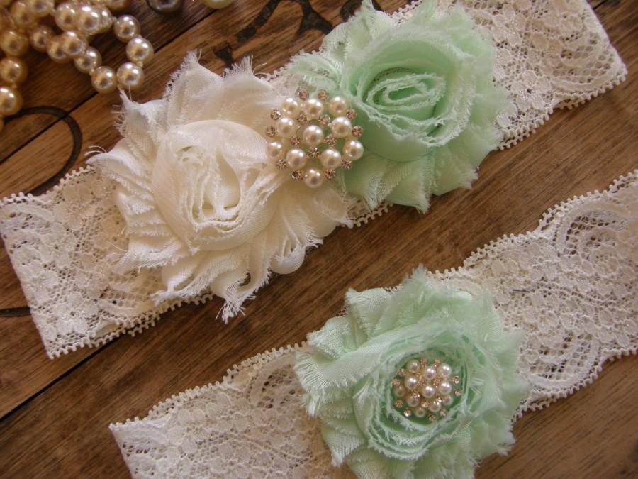 Hochzeit - Ivory & Mint Wedding Garter / Garter / Vintage Inspired Lace Garter / Wedding Garter Set