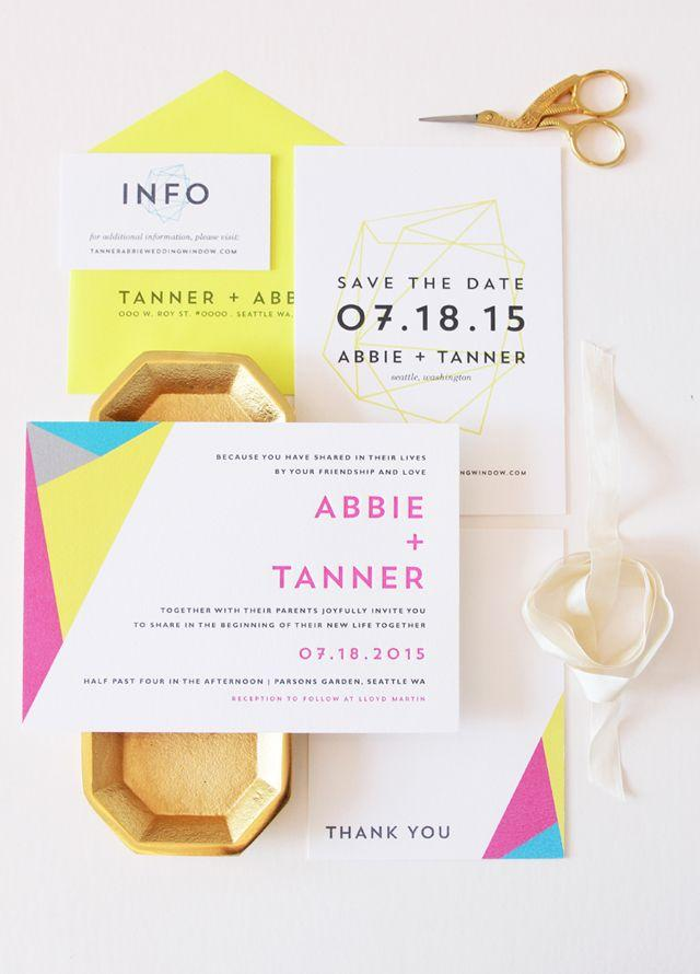 Свадьба - Modern Neon Geometric Wedding Invitations