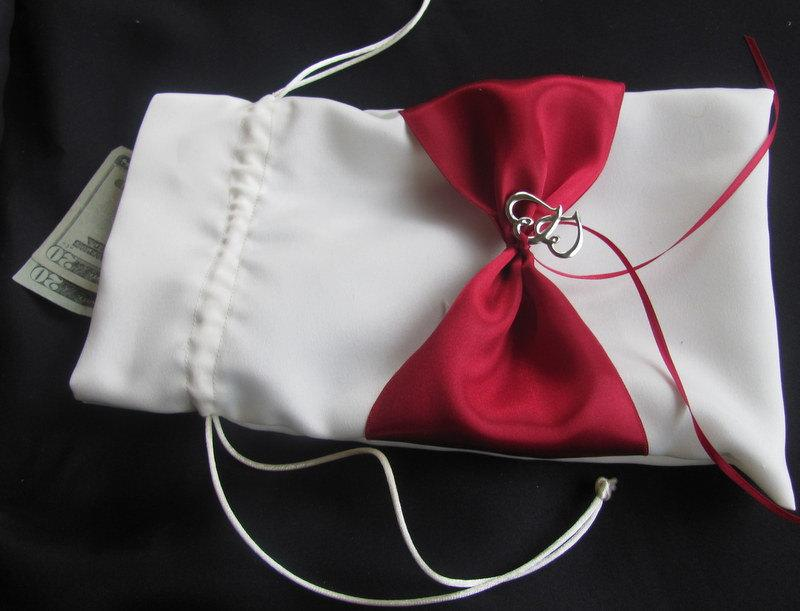 Wedding Money Bag Bridal Dance Makeup Double Heat Satin Dollar Drawstring Custom Colors