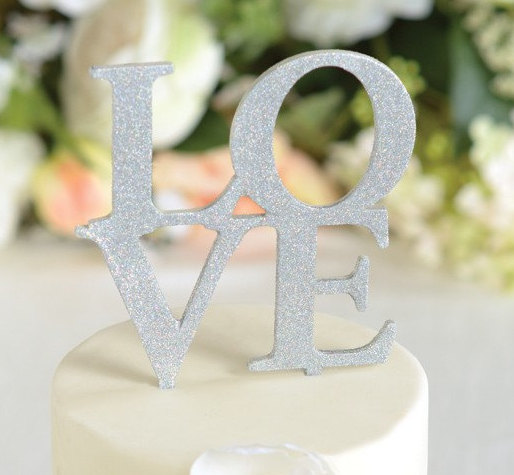 Hochzeit - Wedding Cake Topper LOVE Wedding Cake Topper Silver Glitter Cake Topper Cake Topper Cake Wedding Topper LOVE Topper for Cake Decoration