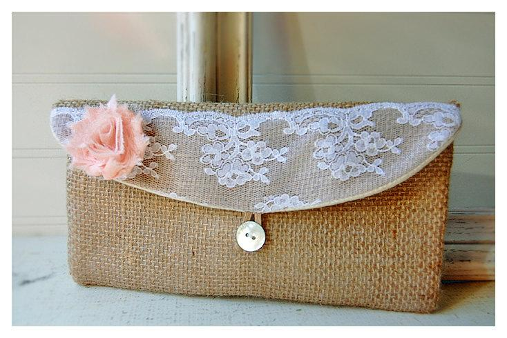Wedding - blush, burlap, lace, white, orange, gold clutch, rustic floral clutch, Spring Wedding Clutch, Bridesmaid Gift, Bridesmaid Clutch, Makeup Bag