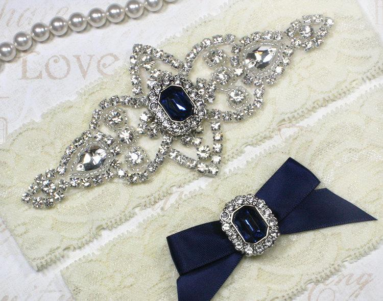 Свадьба - Best Seller - CHLOE II - Sapphire Blue Wedding Garter Set, Lace Garter, Rhinestone Crystal Bridal Garters, Something Blue