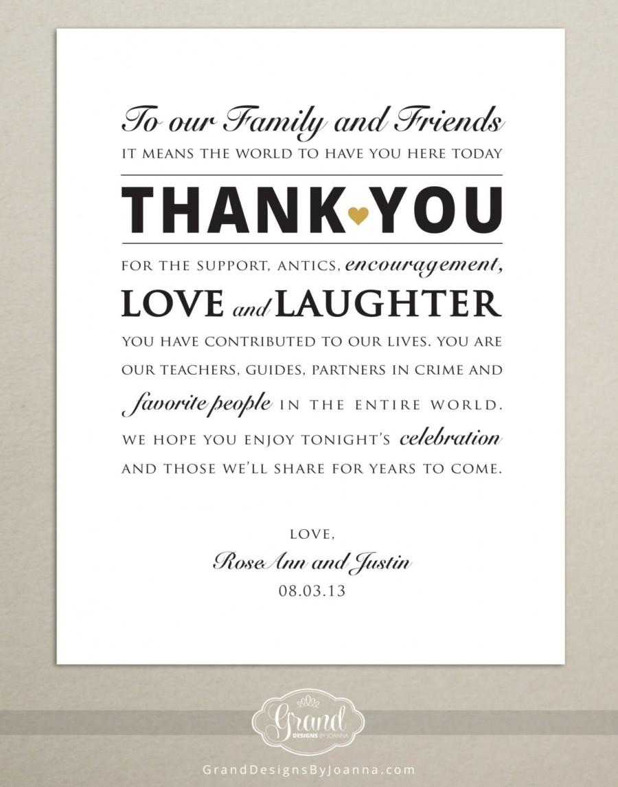 Custom Size Wedding Reception Thank You Card Signage Digital Printable