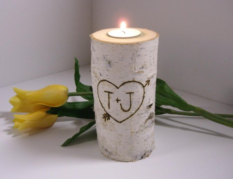 Personalized quot tall birch wood candle holder wedding