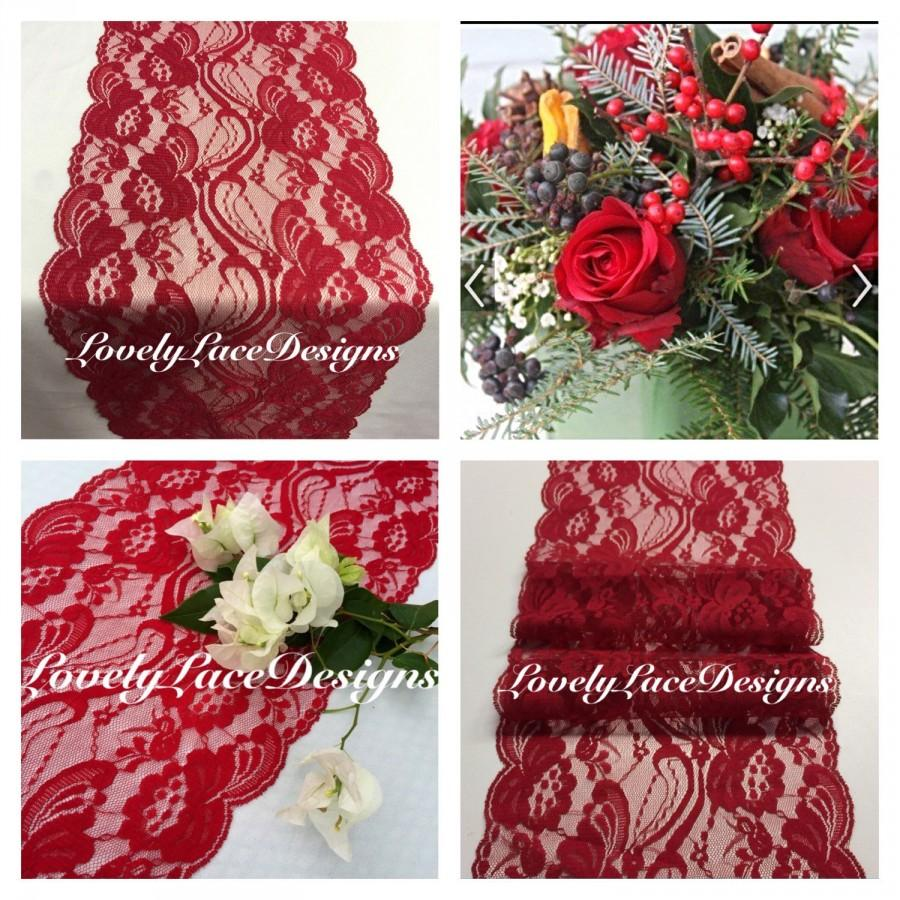 "Hochzeit - CHRISTMAS Lace Table Runner/ 3ft-10ft x 7"" Wide/ Table Runner/Wedding Decor/ Overlay/Red Runner/Tabletop Decor/HOLIDAY DECOR"