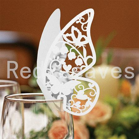 Mariage - 180pcs Laser Cutting Butterfly Place Cards