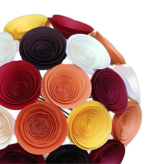 زفاف - Paper Flower Bouquet in Autumn Colors, Medium Bouquet in Orange, Marigold, Red, Chocolate Brown, and Ivory