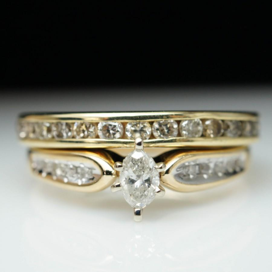 SALE Vintage Estate 80ctw Marquise Cut Diamond Engagement Ring Wedding Band Set 14k Yellow Gold