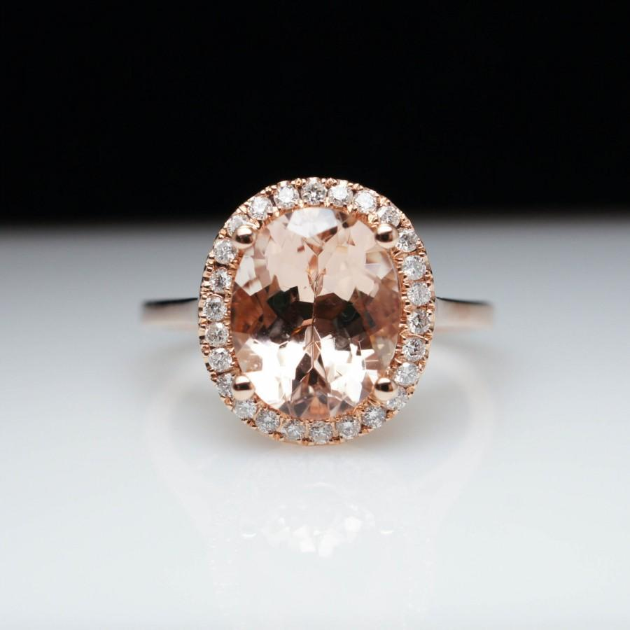 Oval Morganite Diamond Halo Engagement Ring In 14k Rose Gold Morganite Ring  Morganite Engagement Ring Rose Gold Engagement Ring