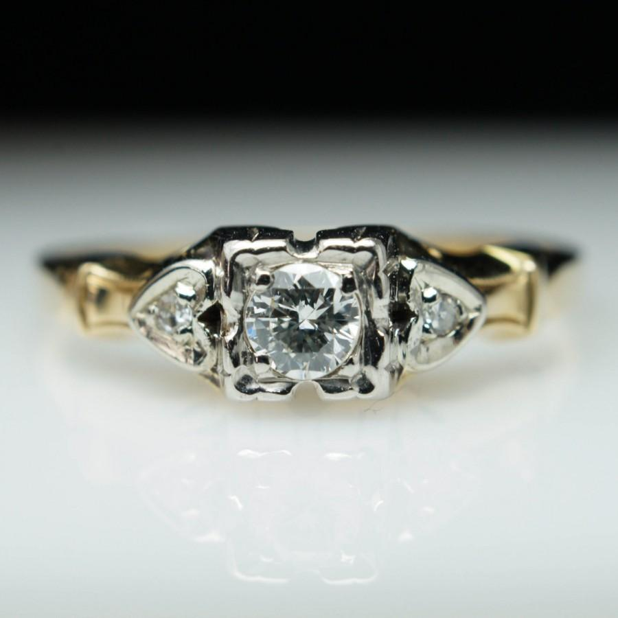 Mariage - Vintage Art Deco .15ct Round Diamond Engagement Ring 14k Yellow Gold - Size 5.5