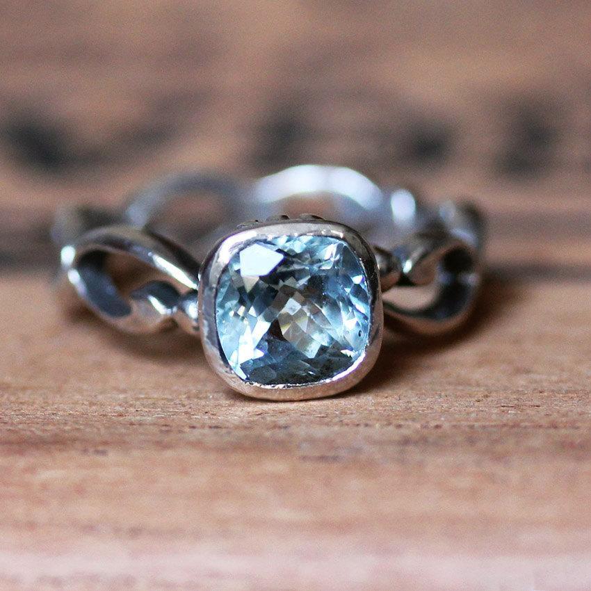engagement ring aquamarine infinity engagement ring