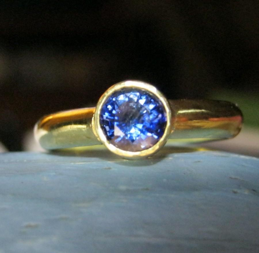 Mariage - Blue sapphire engagement ring gold wedding ring - Princess Bride Kate