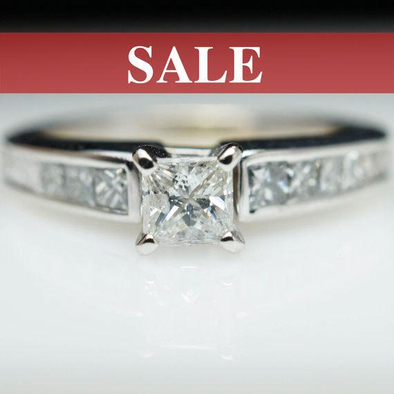 sale vintage diamond engagement ring princess cut diamond ring 14k white gold all natural petite bridal ring - Wedding Ring Sale