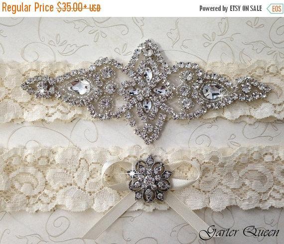 Mariage - 25% OFF sale BEST SELLER Ivory Lace Garter Set, Wedding Garter Set, Bridal garter Set, Rhinestone Garter, Lace Wedding Garter