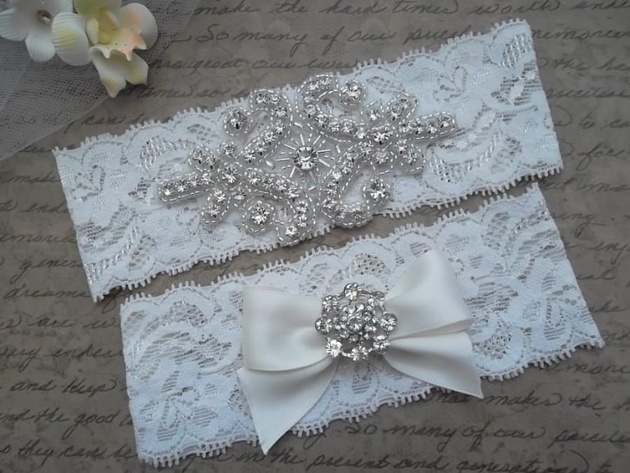 Mariage - OLIVIA Style A-Vintage Inspired Wedding Garter Set, Ivory Lace Garter, Rhinestone Crystal Bridal Garter