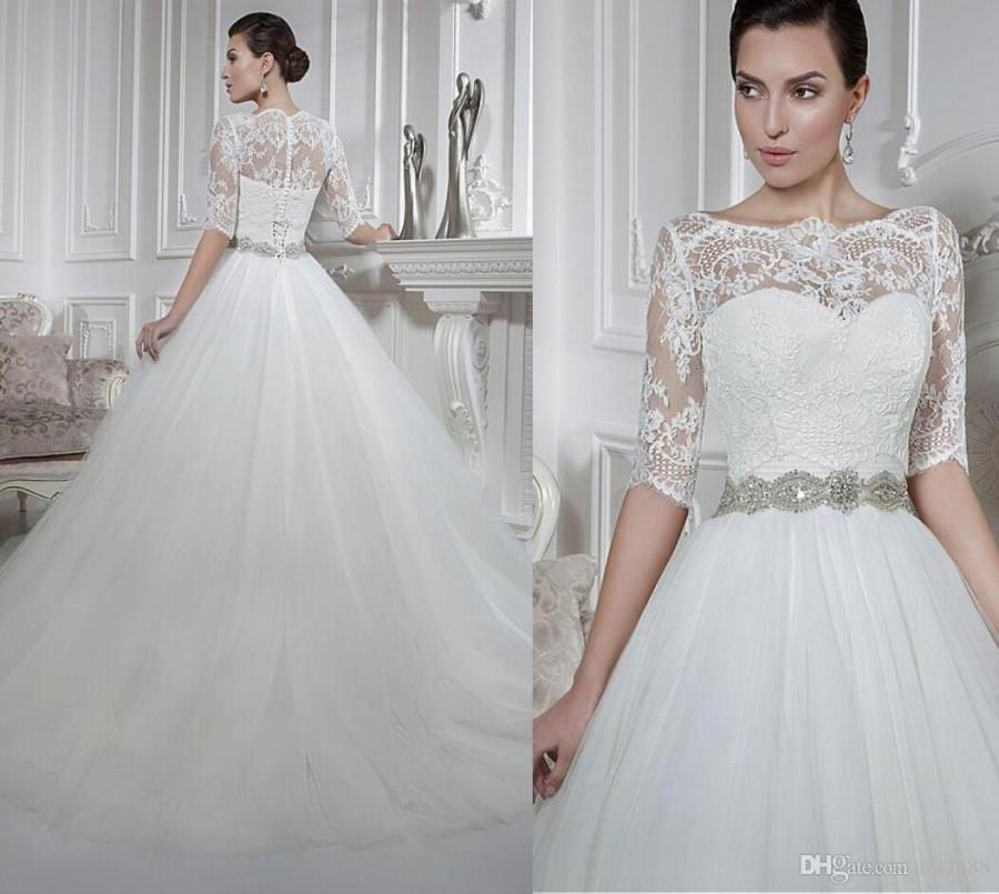 New Arrival Detachable Bodice Sweetheart A Line Wedding Dresses Beaded Sash Lace Appliques 1 2 Sleeves Bridal Gowns Dress Online With 12906 Piece On