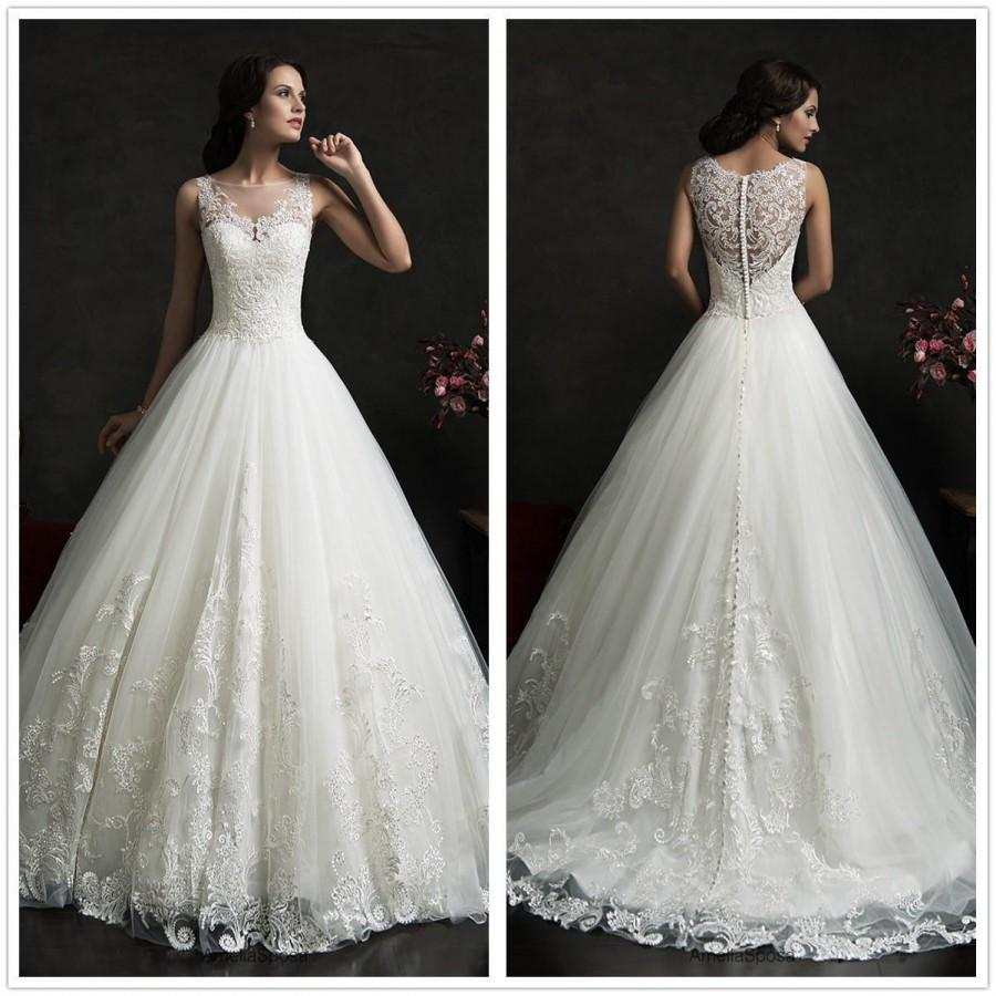 2015 amelia sposa lace wedding dresses crew neck tulle for Crew neck wedding dress