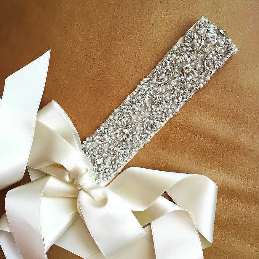 Mariage - Pearl Wedding Sash - Prom Sash - ARKANSAS - BEST SELLER