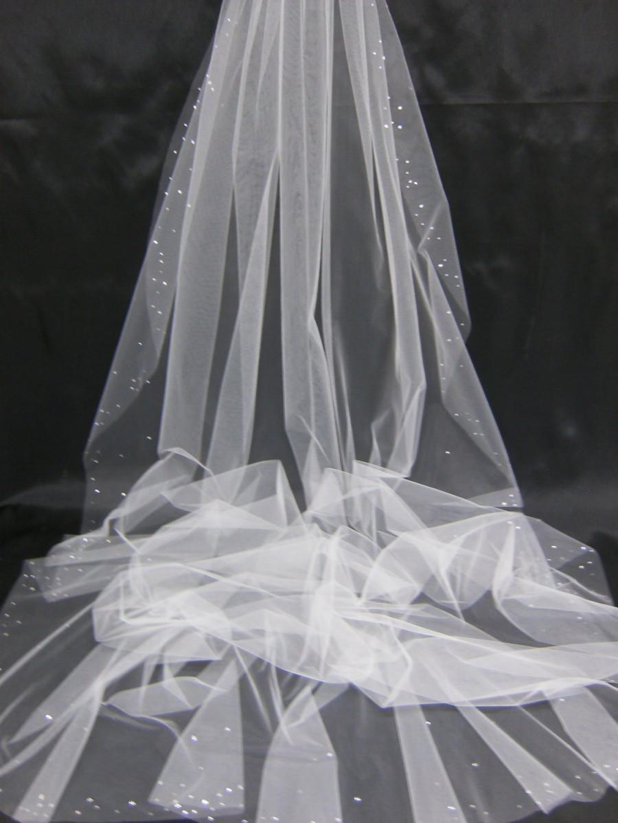 Mariage - Bridal Veil Swarovski Crystal Rhinestone Edged Sheer 108 Inch Long Cathedral Length Wedding Veil