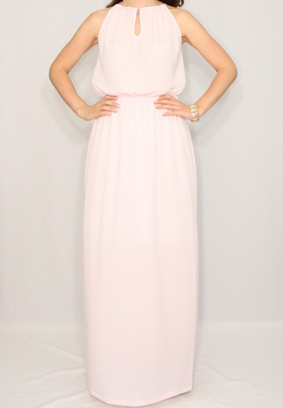 Свадьба - Pale pink Bridesmaid dress Long chiffon dress Party dress