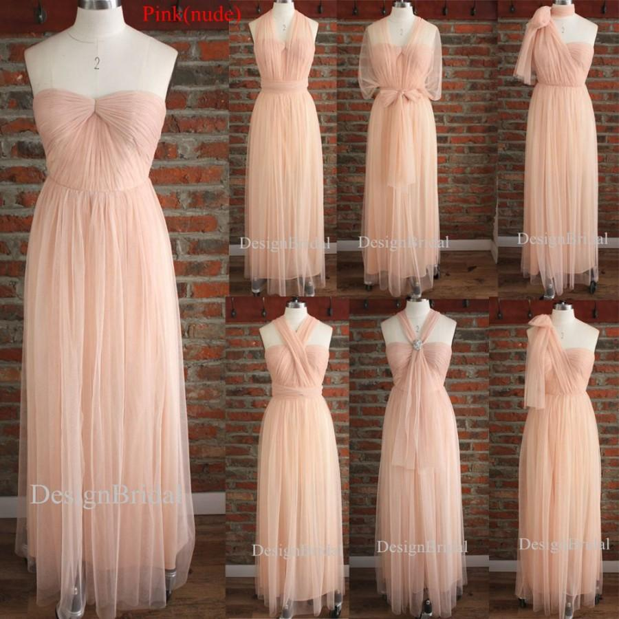 Convertible Bridesmaid Dress Blush Infinity Wrap Long Multi Way Formal Maxi For Tulle 18 Off