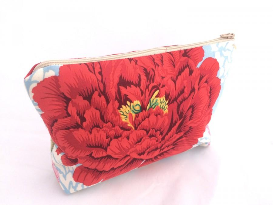 Mariage - Bridesmaids Gift Cosmetic Bag Great gift for friend or Bridesmaids Gift Floral Cosmetic Bag with pink and red peonies- Size Large