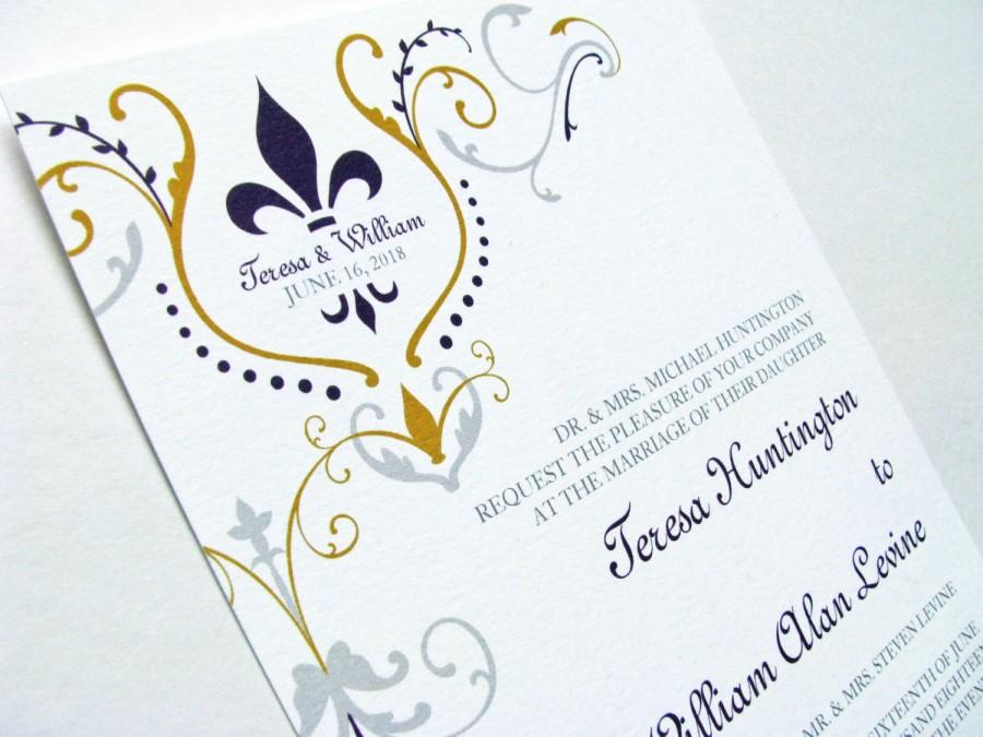 Wedding - Fleur de Lis invitations