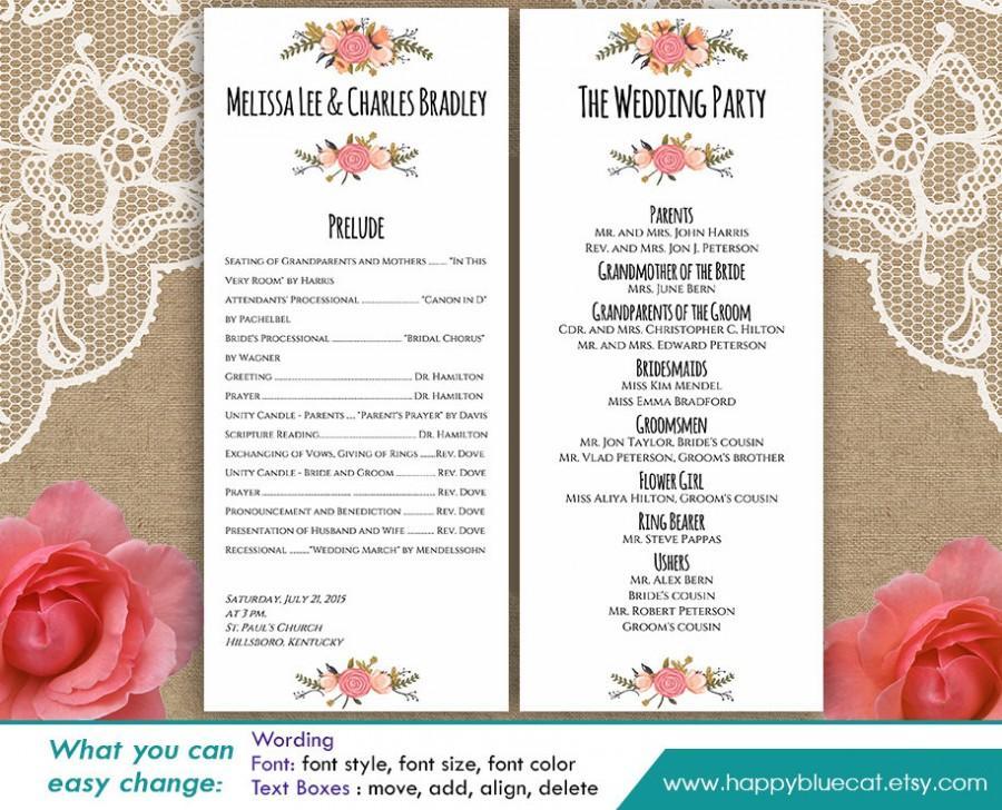 "زفاف - DiY Printable Program Wedding Template - Instant Download - EDITABLE TEXT - Rustic Vintage Floral 4""x9.25"" - Microsoft® Word HBC4n"