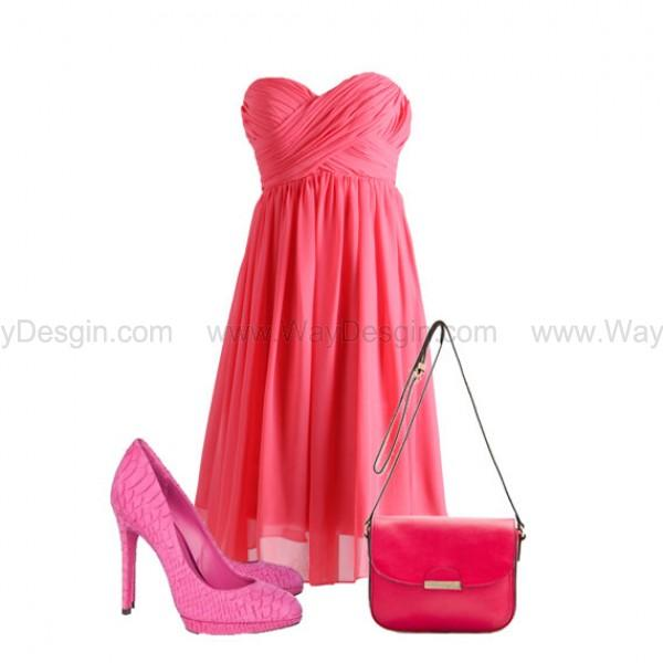 Hochzeit - Coral Strapless Sweetheart Chiffon Bridesmaid Dress/Prom Dress Knee Length Short Dress