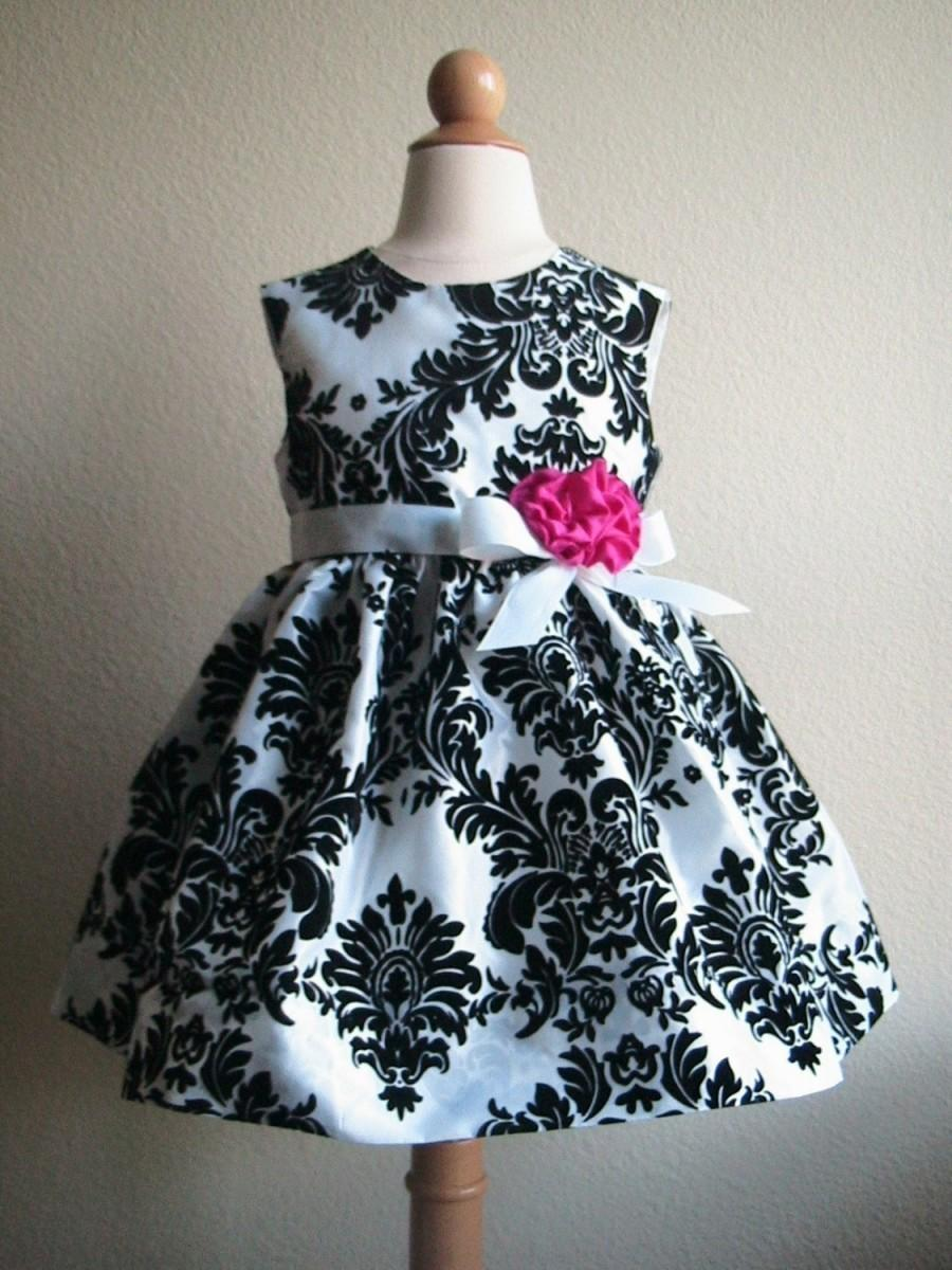 Свадьба - Black and White Taffeta Damask Dress, Custom Order Flower Girl Dress or Special Occasion Dress, Vintage Inspired Girls Dress