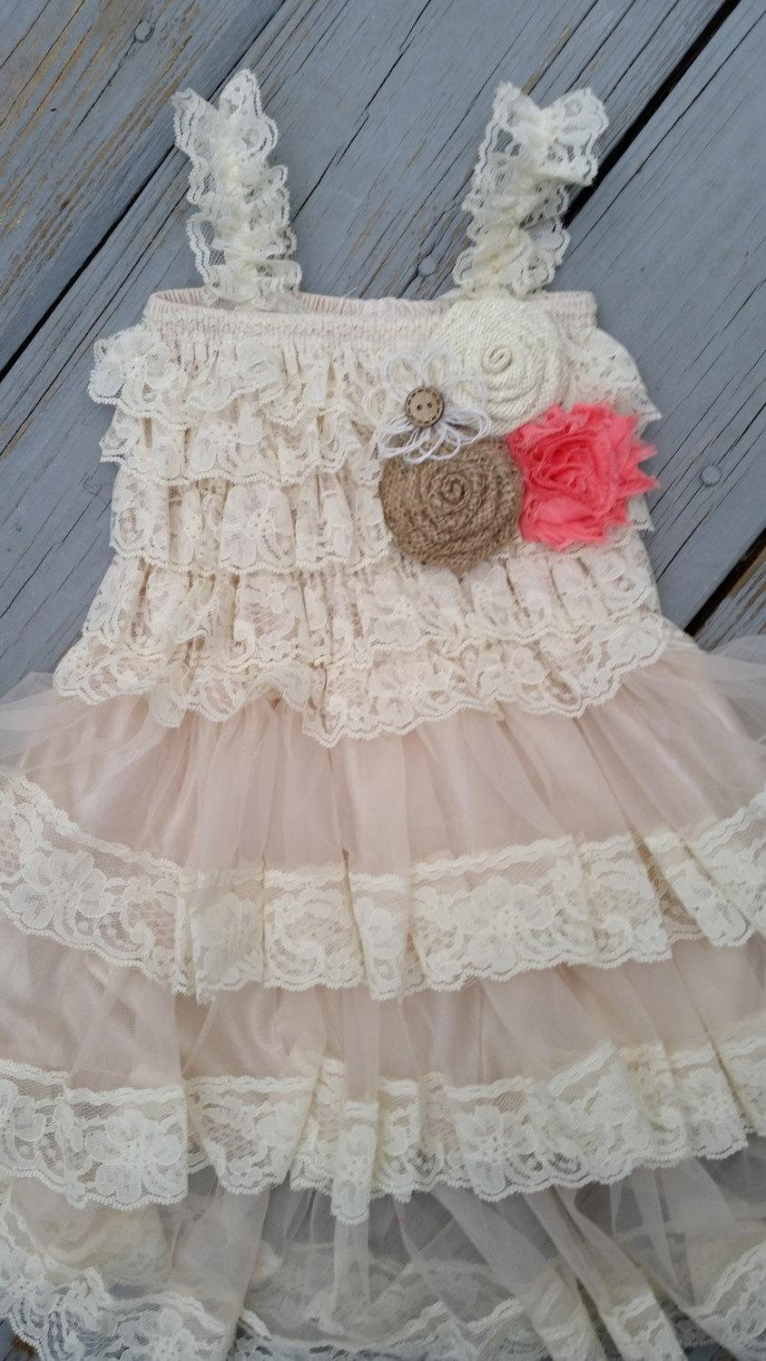 Свадьба - Coral Flower Girl Lace Dress Lace/Rustic Flower Girl Outfit/Wheat Cream Flowergirl/Burlap Flower Girl-Coral Wedding