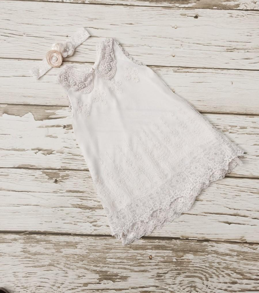 Свадьба - Flower girl dress, Vintage flowergirl dress, Rustic flower girl dress, Ivory Lace girl dress.Toddler lace dress. Little girl dress.