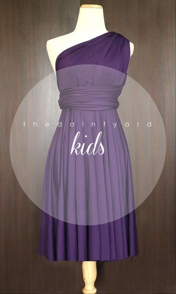 Свадьба - KIDS Grape Bridesmaid Convertible Dress Infinity Dress Multiway Dress Wrap Dress Royal Purple Deep Purple Flower Girl Dress Twist Dress