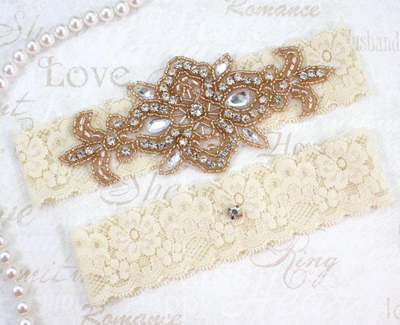 Mariage - MADRID - ROSE GOLD Wedding Garter Set, Lace Garter, Rhinestone Crystal Bridal Garters