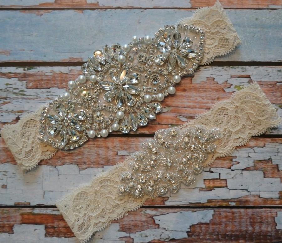 Hochzeit - Wedding Garter, SALE, Wedding Garter Set, Rhinestone and Pearl Bridal Garter Set, Ivory or White Bridal Garter Set, Vintage Style Garter Set